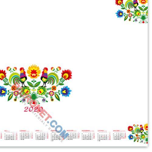 Biuwar blokowy z motywem Cztery Pory Roku, podkładka na biurko z kalendarzem 2018, 50 kartek