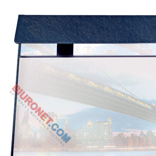 Biuwar z kalendarzem 2020, podkładka na biurko z listwą i notesami, skóropodobna oprawa niebieska