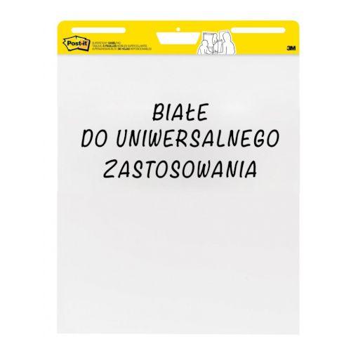 Bloki samoprzylepne do flipchartów Post-it Super Sticky, gładki biały papier 63,5 x 77,5 cm, 4+2 gratis 6 x 30 kartek