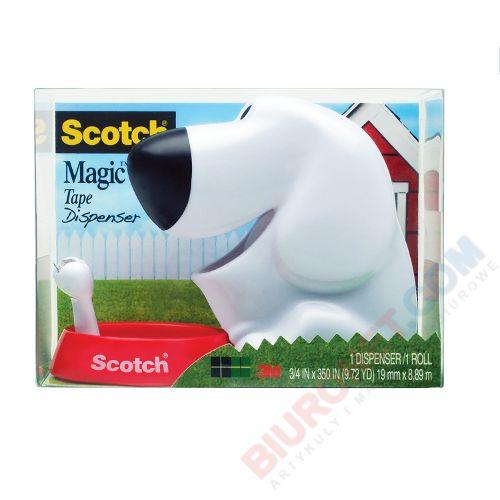 Dyspenser taśmy klejącej Scotch C31-DOG, w kształcie pieska + taśma Magic 19mm x 9m