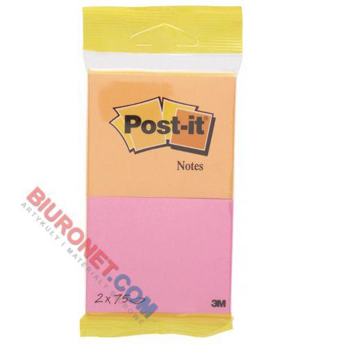 Karteczki Post-it 76x63,5 mm, 2 bloczki po 75 kartek na zawieszce