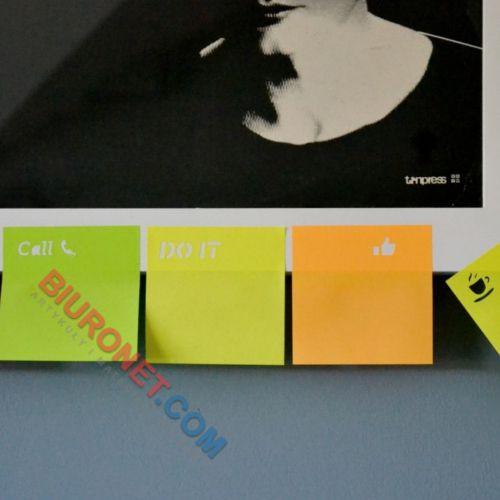 Karteczki samoprzylepne D.Rect, z tekstem UWAGA, bloczek 50 kartek, mix kolorów 75 x 75 mm