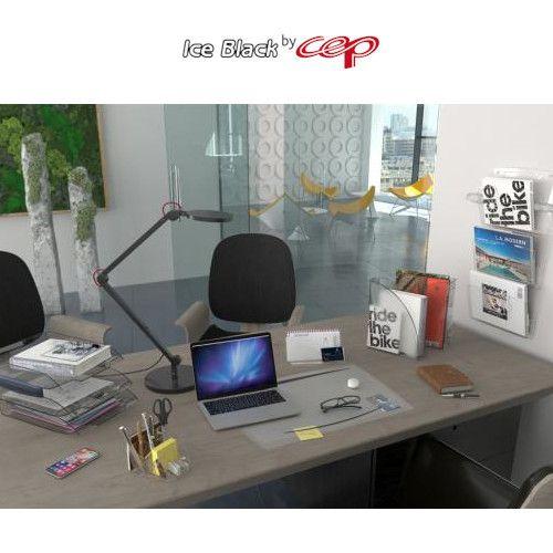 Podkładka na biurko Cep Ice Black 65,6 x 44,8 cm, z dodatkową folią, transparentna czarne wykończenie