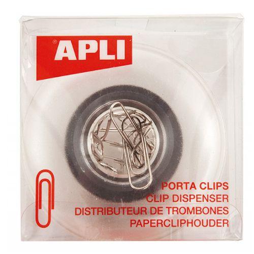 Pojemnik magnetyczny na spinacze APLI, okrągły transparentny