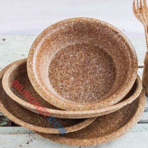 Talerze biodegradowalne Biotrem, średnica 24 cm, wykonane z otrąb pszennych