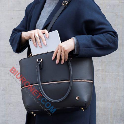 Wenger Eva, torba damska z etui na laptop, powiększana, czarna z granatowym