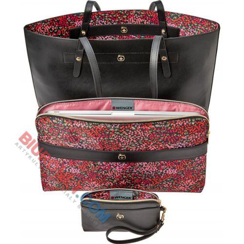 Wenger MarieSol, torba damska z etui na laptop, czarna z motywem kwiatowym