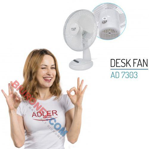 Wentylator Adler AD 7303 70W, biurkowy, średnica 30cm biały