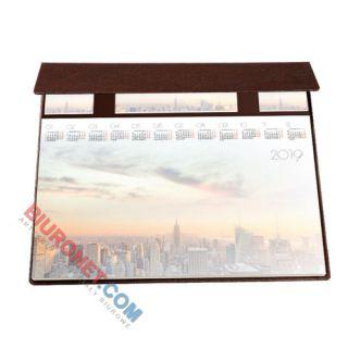 Biuwar Glob, 50 kartek, podkładka na biurko z listwą i notesami, oprawa skórpodobna