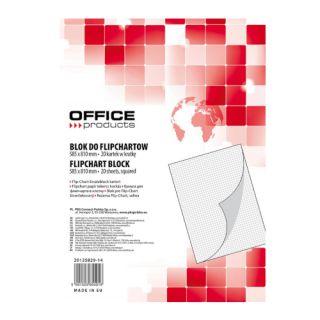 Blok do flipchartów Office Products, biały papier w kratkę, mały 58,5 x 81 cm 20 kartek