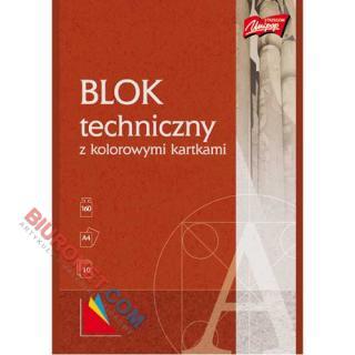 Blok techniczny Unipap, 10 kolorowych kartek