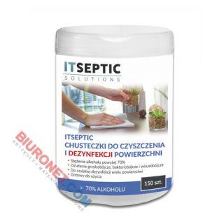 Chusteczki do dezynfekcji powierzchni ITSEPTIC, z alkoholem 70%, listki 12x24 cm, tuba