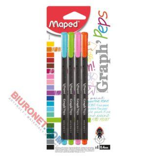 Cienkopisy Maped Graph'Peps, zestaw kolorów neonowych, końcówka fibrowa 0.4mm 4 kolory