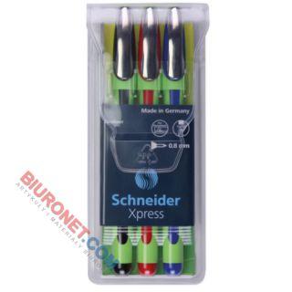 Cienkopisy Schneider Xpress, końcówka fibrowa 0.8 mm, zestaw w etui