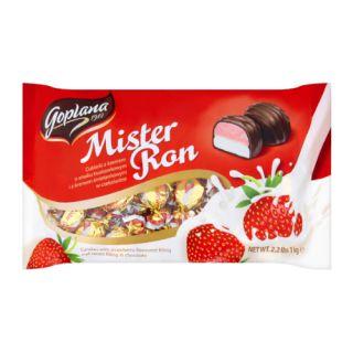 Cukierki w czekoladzie mlecznej Goplana Mister Ron, z kremem o smaku truskawkowym i śmietankowym 1kg