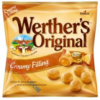 Cukierki Werther's Original, karmelki śmietankowe z nadzieniem