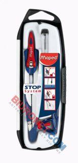 Cyrkiel metalowy Maped Stop System z grafitową końcówką, 3 elementy w etui, szkolny