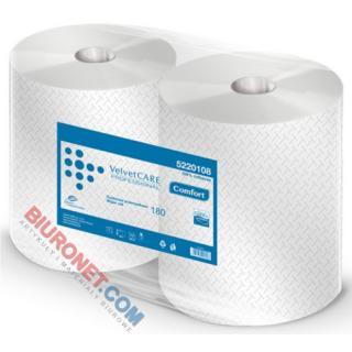 Czyściwo w rolce Velvet CARE Professional, białe ręczniki papierowe celulozowe, 2-warstwowe 2 rolki x 180 m