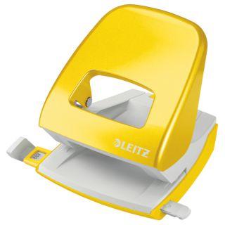 Dziurkacz Leitz WOW 5008, metalowy, duży, do 30 kartek żółty
