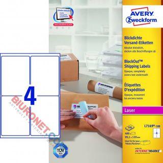 Etykiety adresowe Avery Zweckform, papierowew, białe, 100 arkuszy A4