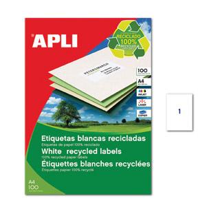 Etykiety ekologiczne APLI, uniwersalne, papierowe, 100 arkuszy A4