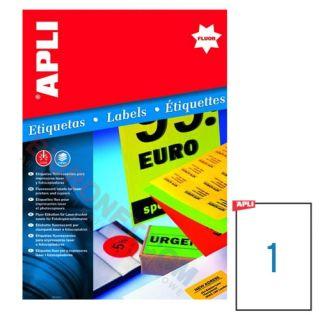 Etykiety fluorescencyjne APLI, 210x297 mm, 20 arkuszy A4