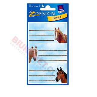 Etykiety na zeszyt - Konie, 3 arkusze. Avery Zweckform 59294