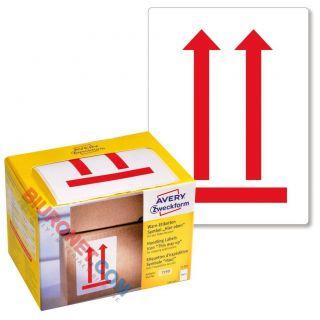 Etykiety ostrzegawcze, wysyłkowe Avery Zweckform, czerwone, 74 x 100 mm, 200 sztuk