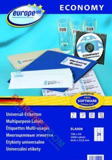 Etykiety samoprzylepne Avery Zweckform Economy Europe 100, białe 100 arkuszy 64,6x33,8mm