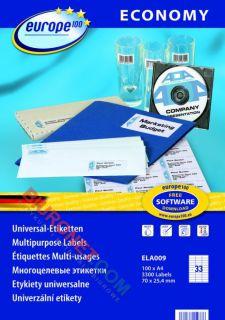 Etykiety samoprzylepne Avery Zweckform Economy Europe 100, białe 100 arkuszy 70x25,4mm