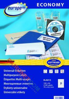Etykiety samoprzylepne Avery Zweckform Economy Europe 100, białe 100 arkuszy 70x42,3mm