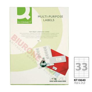 Etykiety samoprzylepne Q-Connect, papierowe, 100 arkuszy A4 70 x 25 mm