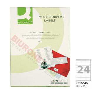 Etykiety samoprzylepne Q-Connect, papierowe, 100 arkuszy A4 70 x 36 mm