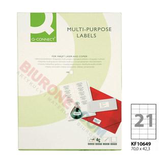 Etykiety samoprzylepne Q-Connect, papierowe, 100 arkuszy A4 70 x 42,3 mm