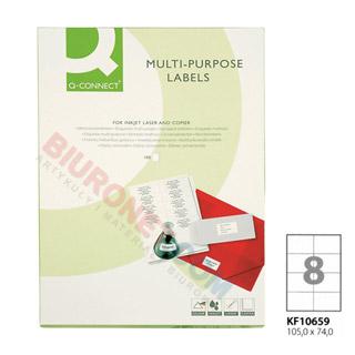 Etykiety samoprzylepne Q-Connect, papierowe, 100 arkuszy A4 105 x 74 mm