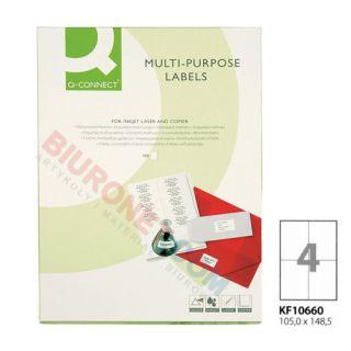 Etykiety samoprzylepne Q-Connect, papierowe, 100 arkuszy A4 105 x 148,5 mm
