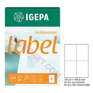 Etykiety uniwersalne Igepa, papierowe, 100 arkuszy A4 105 x 148 mm