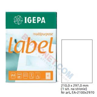 Etykiety uniwersalne Igepa, papierowe, 100 arkuszy A4 210 x 297 mm - A4