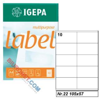 Etykiety uniwersalne Igepa, papierowe, 100 arkuszy A4 105 x 57 mm