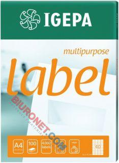 Etykiety uniwersalne Igepa, papierowe, 100 arkuszy A4 70x25,4 mm