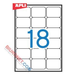 Etykiety z zaokrąglonymi rogami APLI, papierowe, 100 arkuszy A4