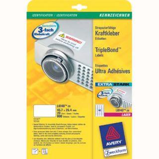 Etykiety zabezpieczające AVERY Zweckform TripleBond, poliestrowe, 20 arkuszy A4
