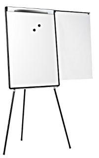 Flipchart na trójnogu Bi-Office, z wysuwanym ramieniem z półką na akcesoria