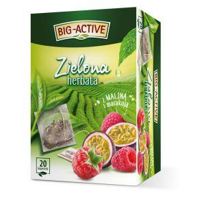 Herbata zielona Big-Active z Maliną i Marakują, aromatyzowana, ekspresowa