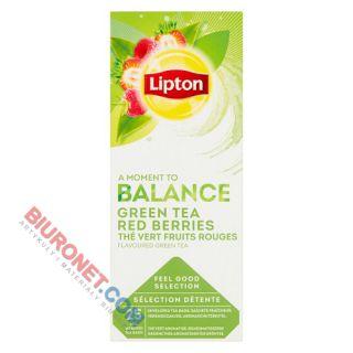 Herbata zielona Lipton Balance Green Tea Red Berries, aromatyzowana, torebki w kopertach
