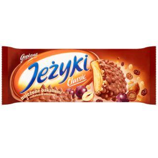 Jeżyki Jutrzenka, herbatniki z karmelem i bakaliami w czekoladzie, 140g