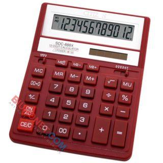 Kalkulator Citizen SDC-888 X, biurowy, 12 cyfr czerwony