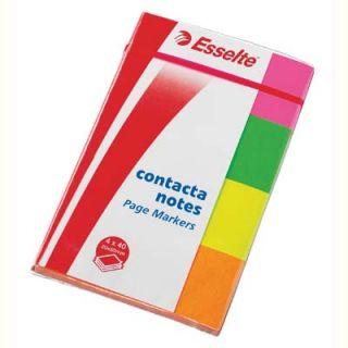 Karteczki indeksujące Esselte Contacta, papierowe zakładki, 4 x 50 sztuk