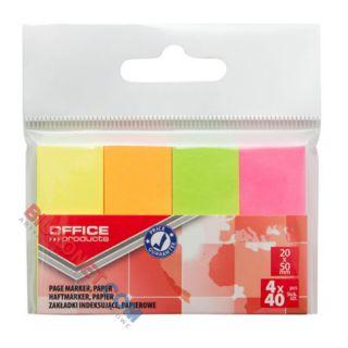 Karteczki indeksujące Office Products 20 x 50 mm, papierowe zakładki, 160 sztuk, zawieszka