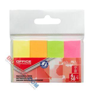 Karteczki indeksujące Office Products 20 x 50 mm, papierowe zakładki, 200 sztuk, zawieszka
